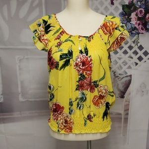Fun and Flirt yellow floral blouse